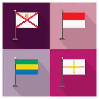 Bailiwick de Jersey Indonésia Gabão e Bailiado de Guernsey Flags