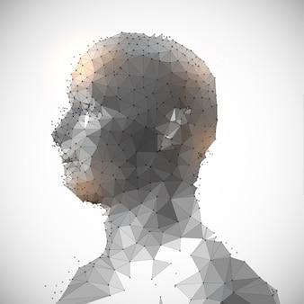 Baixo, poli, desenho, forma, human, cabeça