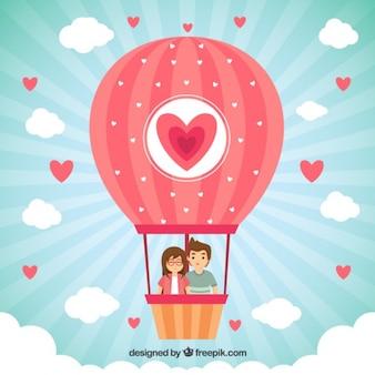 Balão com um par no amor