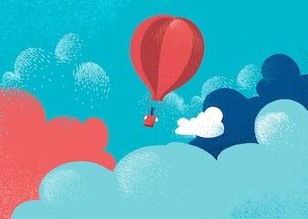 Balão de ar quente em nuvens