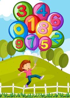 Balões com números e garotinha no parque