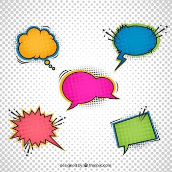Balões de diálogo de cinco cores para quadrinhos