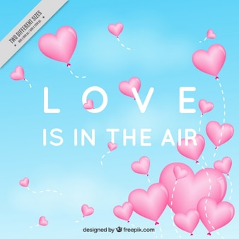 Balões do coração fundo do amor
