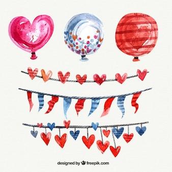 balões do coração Watercolor