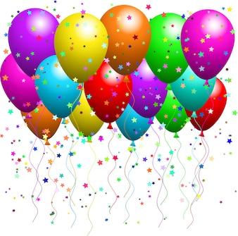 Balões e confetes