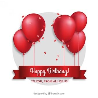 Balões vermelhos cartão de aniversário