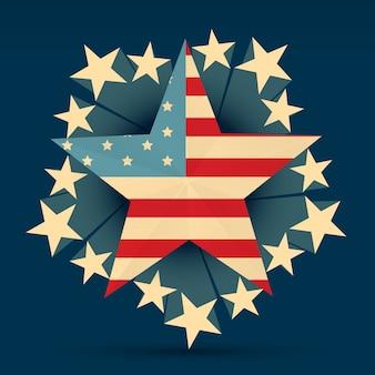 Bandeira americana criativa com estrelas à sua volta