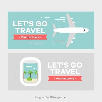 Bandeira de viagem com design de avião