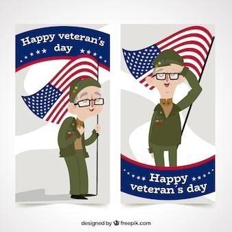 Bandeira do dia do veterano com personagem