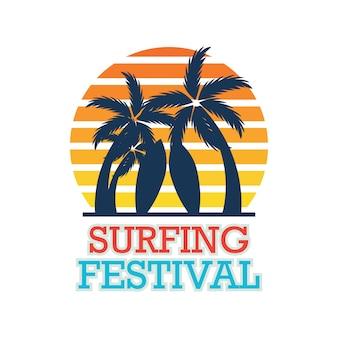 Bandeira do festival de surf para competição de surf. Ilustração vetorial