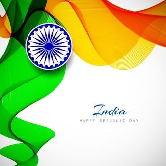Bandeira indiana tema de fundo ondulado
