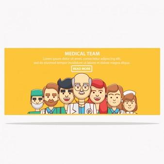 bandeira médico com avatars