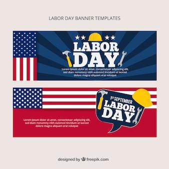 Bandeiras americanas estabelecidas para o dia de trabalho
