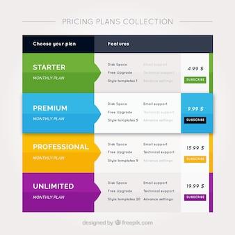 Bandeiras coloridas de preços em design plano