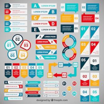 Bandeiras coloridas para infográfico