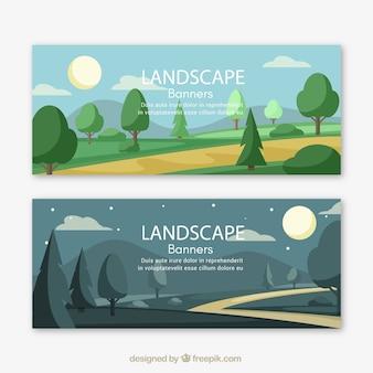 Bandeiras da paisagem com árvores e trajeto
