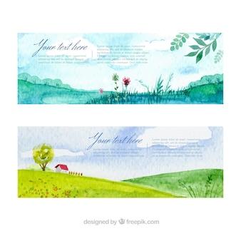 Bandeiras da paisagem da aguarela embalar