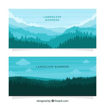 Bandeiras da paisagem da floresta