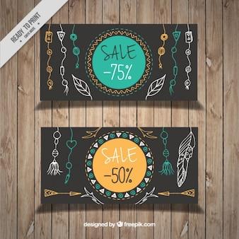 Bandeiras da venda com esboços boho decoração