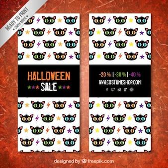 Bandeiras da venda de Halloween com padrão de gatos pretos