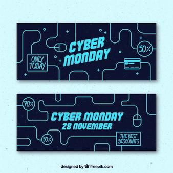 Bandeiras da venda tecnológicos de Cyber segunda-feira
