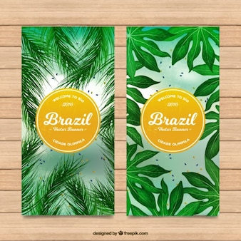 Bandeiras de Brasil com folhas de palmeira