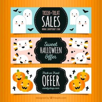 Bandeiras de Halloween engraçado com ofertas