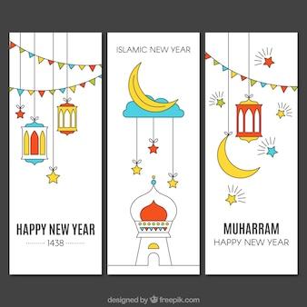 Bandeiras do ano novo islâmico bonito no estilo linear