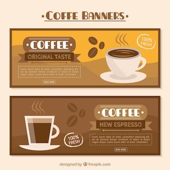 Bandeiras do café planas em tons marrons