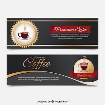 Bandeiras do café realistas com detalhes dourados
