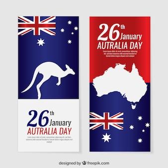 Bandeiras do dia Austrália com silhuetas