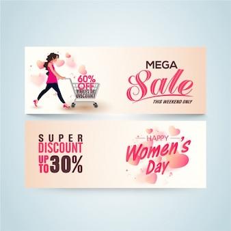 Bandeiras do dia da venda das mulheres com detalhes rosa