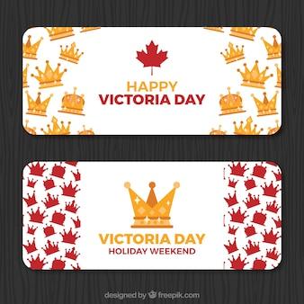 Bandeiras do dia da vitória com coroas