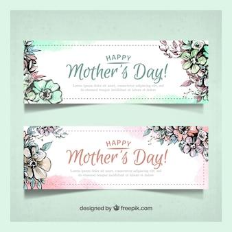 Bandeiras do dia das mães com flores da aguarela