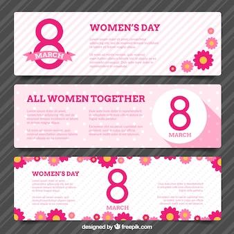 Bandeiras do dia das mulheres-de-rosa bonito