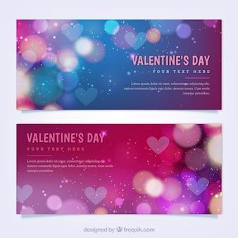Bandeiras do dia do Valentim colorido com efeito bokeh