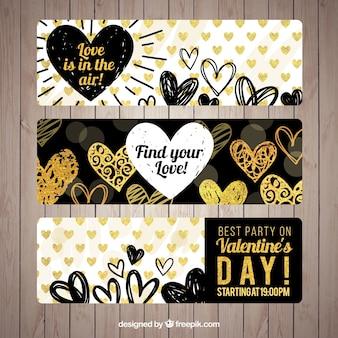 Bandeiras do dia dos namorados bonitos com corações do doodle