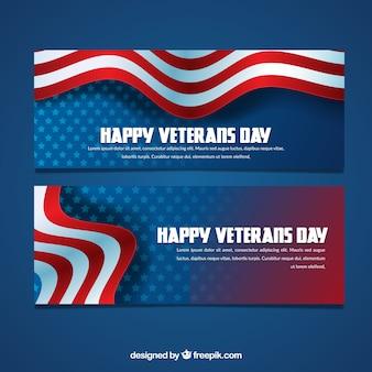 Bandeiras do dia dos veteranos com bandeira ondulada
