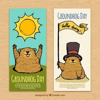 Bandeiras do dia Groundhog desenhados mão