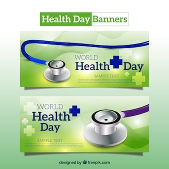 Bandeiras do dia Saúde com estetoscópio