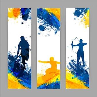 Bandeiras do esporte em tons alaranjados e azuis