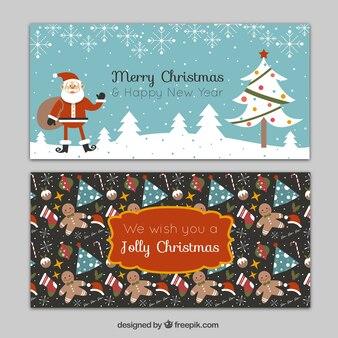 Bandeiras do Natal planas com Papai Noel e outros elementos