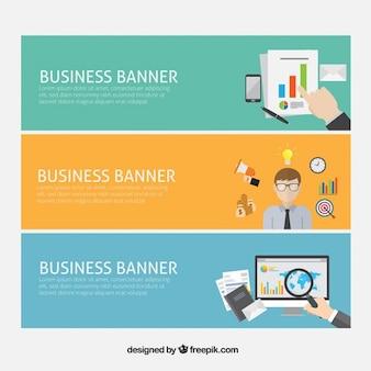 Bandeiras do negócio com elementos da empresa em design plano