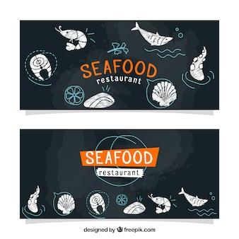 Bandeiras do vintage de esboços de frutos do mar