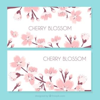 Bandeiras do vintage de flores de cerejeira
