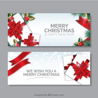 Bandeiras dos presentes do Natal branco