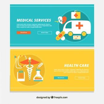 Bandeiras dos serviços médicos em design plano