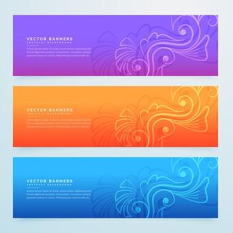 Bandeiras florais conjunto de três em cores diferentes
