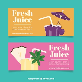 Bandeiras planas com cocktails de frutas