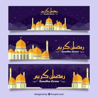 Bandeiras, ramadan, kareem, dourado, mesquita